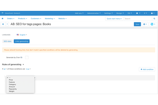 CS-Cart seo for tags pages addon - auto-assignment by rules